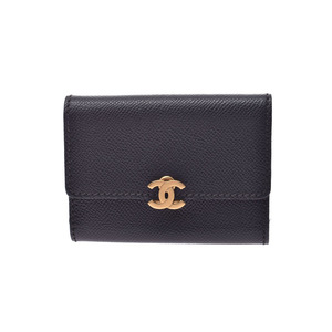 CHANEL Three fold card case Black G bracket Women's leather A rank Used Ginzo