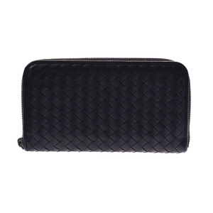 Bottega Veneta Round zipper long wallet Intorechart Black Leather Men's Ladies AB Rank BOTTEGA VENETA Box Used Ginzo
