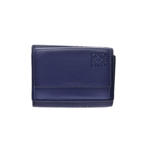 Loewe Tri-Fold Tri-fold Wallet Blue Men's Women's Calf Compact Unused Beauty Products LOEWE Used Ginzo