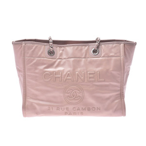 CHANEL Deauville Tote Pink SV Metal Ladies Calf Bag AB Rank Used Ginzo