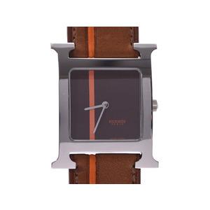 HERMES H Watch Steel Leather Quartz Mens Unisex Watch HH1.510