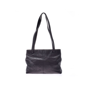 Chanel Tote Bag Coco Mark Black Ladies Calf AB Rank CHANEL Used Ginzo