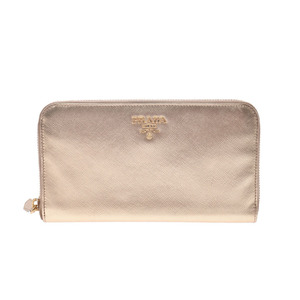 Prada round zipper long wallet gold G metal ladies Safiano AB rank PRADA box Gala Used Ginzo
