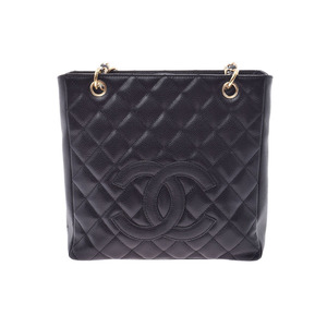 Chanel Matrasse PST tote bag Black G hardware Women's caviar skin A rank CHANEL box Gallery Used Ginzo