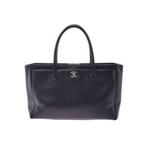 Chanel Executive Tote Black SV Bracket Ladies Soft Caviar Skin Bag AB Rank CHANEL Used Ginzo