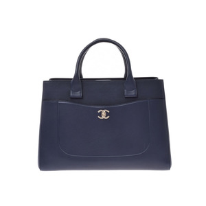 CHANEL Neo-executive 2WAY tote bag navy SV metal fitting ladies calf new item beauty product Galla strap used Ginzo