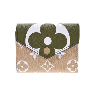 Louis Vuitton Giant Monogram Portofey Yuzoe Khaki M67641 Ladies' Genuine Leather Compact Wallet New LOUIS VUITTON Ginzo