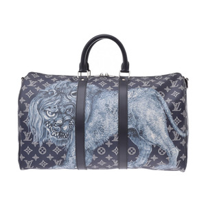 Louis Vuitton Savannah Kiepol 45 Chapman Brothers Navy Lion M54129 Men's Genuine Leather Boston bag Unused LOUIS VUITTON With strap