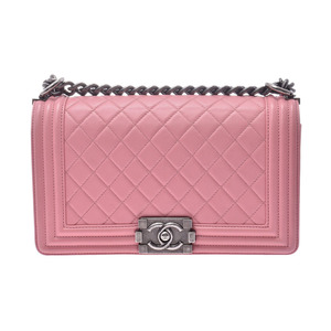 Chanel Boy Chain Shoulder Bag Pink Vintage Bracket Women's Lambskin AB Rank CHANEL Galla Used Ginzo
