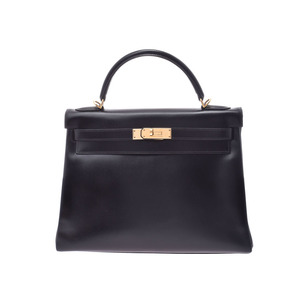 HERMES KELLY 32 Internally sewn Black G bracket □ D stamped Women's BOX calf 2 WAY handbag A rank beauty item with strap Used Ginzo