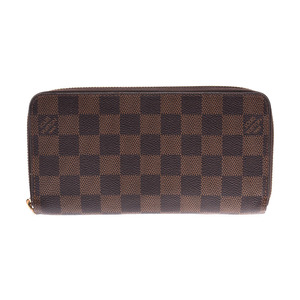 Louis Vuitton Damier Zippy Wallet Old Brown N60015 Men's Women's Genuine Leather Long Purse B Rank LOUIS VUITTON Used Ginzo