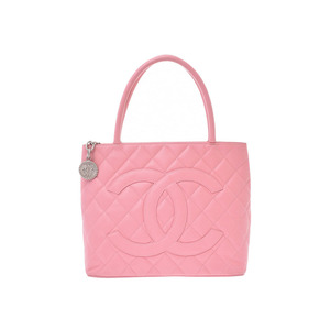 CHANEL Reprint Tote Bag Pink Ladies Caviar Skin B Rank Galla Used Ginzo
