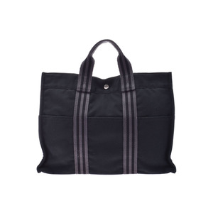 HERMES FOURTO MM Black Men's Women's Canvas Tote Bag AB Rank Used Ginzo