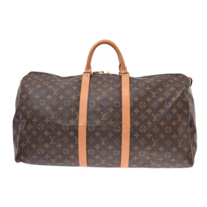 Louis Vuitton Monogram Kiepol 55 Brown M41424 Men's Genuine Leather Boston Bag B Rank LOUIS VUITTON Used Ginzo
