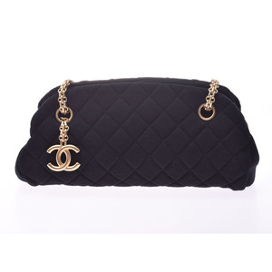 CHANEL Mademoiselle Boring Bag Black G Hardware Ladies Jersey Handbag A rank Beauty item Box Galla Used Ginzo