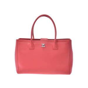 Chanel Executive Tote Salmon Pink SV Metal Ladies Soft Caviar Skin 2WAY Bag AB Rank CHANEL With Strap Used Ginzo
