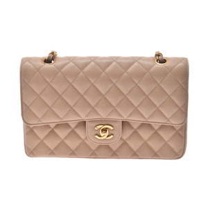 Chanel Matrasse Chain shoulder bag Beige G hardware Women's lambskin double lid AB rank CHANEL Used Ginzo