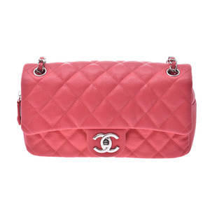 Chanel Matrasse Chain shoulder bag Red SV bracket Women's caviar skin A rank CHANEL box Gallery Used Ginzo