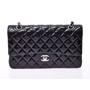 Chanel Matrasse Chain shoulder bag Double flap Black SV hardware Women's enamel A rank CHANEL box Gallery