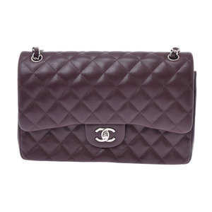 Chanel Matrasse Chain Shoulder Bag 30cm Double Lid Purple SV Bracket Women's Caviar Skin A Rank Beauty Product CHANEL Used Ginzo