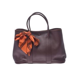 HERMES Garden Twilight TPM Dark Brown □ I Engraved Ladies Vaux Swift Handbag AB Rank Used Ginzo