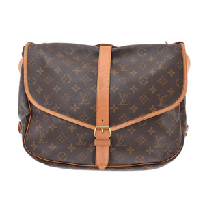 Louis Vuitton Monogram Saumur 35 Brown M42254 Women's Genuine Leather Shoulder Bag B Rank LOUIS VUITTON Used Ginzo