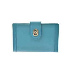 Bvlgari Bulgari Doppiotondo Gamaguchi wallet turquoise blue GP hardware ladies' men's leather A rank beauty goods BLVGARI box used Ginzo