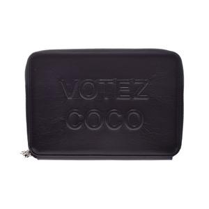 Chanel Clutch Bag Wallet Type Black SV Brackets Womens Men's Calf AB Rank CHANEL Used Ginzo