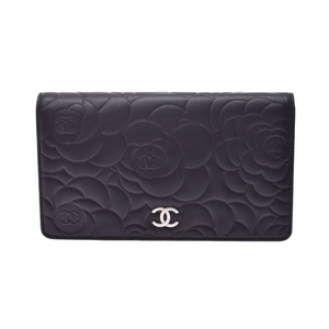 Chanel Camellia Fastener Purse Black SV Metal Ladies Calf A rank good item CHANEL Box Gallery Used Ginzo