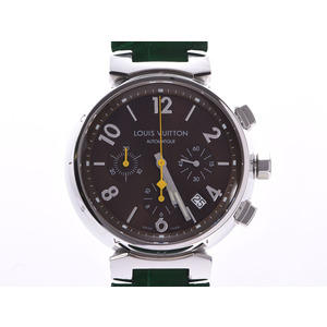 Louis Vuitton Tambour Chronograph Brown Dial Q1121 Men's SS / Leather Automatic Watch A rank LOUIS VUITTON inner box Used Ginzo