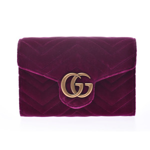 Gucci GG Marmont Chain Shoulder Bag Purple Women's Velor Shindo Beauty Product