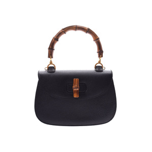 Gucci Bamboo 2WAY Handbag Black Ladies Pigskin