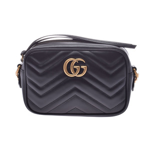 Gucci GG Marmont Quilted Mini Shoulder Bag Black Ladies Calfs