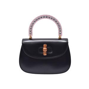 Gucci Bamboo 2WAY Handbag Black Ladies calf rhinestone