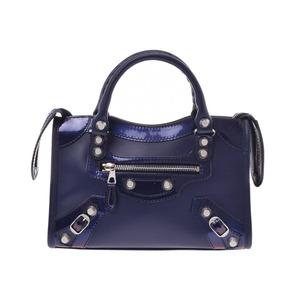 Balenciaga Giant Mini City Purple-based Ladies Calf Enamel 2WAY Handbag