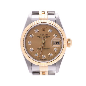 Rolex Datejust 10P Diamond Champagne Dial 79173G Number P Women's YG / SS Automatic Rolled Watch A Rank Beauty Product ROLEX Gallary Used Ginzo