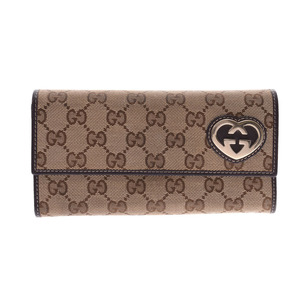 Gucci Lovely line two fold long wallet beige / dark brown Women's GG canvas leather AB rank GUCCI box used Ginzo