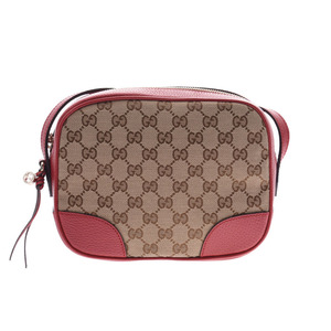 Gucci shoulder bag beige / red Ladies GG canvas leather outlet