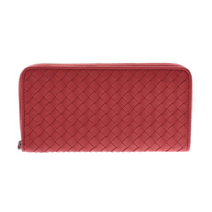 Bottega Veneta Round zipper long wallet Intorechart Red Men's Women's Leather Unused beauty goods BOTTEGA VENETA Box Used Ginzo