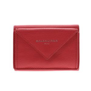 バレンシアガ(Balenciaga) バレンシアガ ペーパーミニウォレット 赤 レディース レザー 財布 ABランク BALENCIAGA 箱 ショップカード 中古 銀蔵