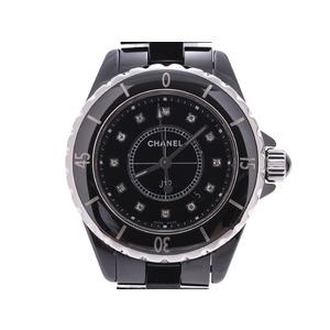 シャネル J12 33mm 黒文字盤 12Pダイヤ メンズ レディース 黒セラミック クオーツ 腕時計 ABランク CHANEL 中古 銀蔵