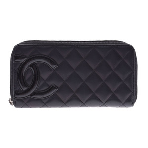Chanel Cambon Line Round zipper long wallet Black / Ladies Calf B rank CHANEL Galla Used Ginzo