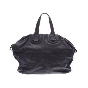 ジバンシィ(Givenchy) ジバンシー ナイチンゲール ラージサイズ 黒 レディース メンズ カーフ 2WAYバッグ Bランク GIVENCHY ストラップ付 中古 銀蔵