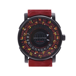 Louis Vuitton Escal Time Zone Japan Limited Edition Black Dial Q5D230 Men's SS / Alligator Automatic Rolled Watch A Rank Beauty Product LOUIS VUITTON Box Gallery Used Ginzo