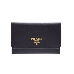 Prada Card Case Black Ladies Safiano Box