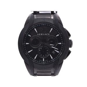 ヴェルサーチ キャラクター クロノ 黒文字盤 M8C メンズ SS クオーツ 腕時計 Aランク 美品 VERSACE 箱 ギャラ 中古 銀蔵