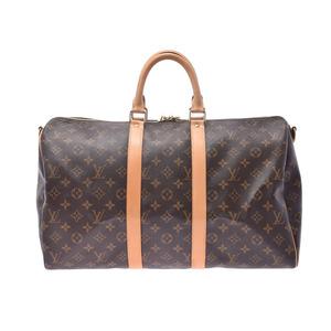 ルイ・ヴィトン(Louis Vuitton) ルイヴィトン モノグラム キーポルバンドリエール45 ブラウン M41418 メンズ レディース 本革 ボストンバッグ ABランク LOUIS VUITTON ストラップ付 中古 銀蔵