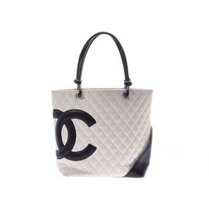 シャネル(Chanel) シャネル カンボンライン ラージトートバッグ 白/黒 レディース ラムスキン ABランク CHANEL 中古 銀蔵
