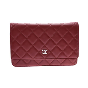 CHANEL MATRASE CHAIN WALLET Red SV Bracket Women's Lambskin Purse A rank Box Gala Used Ginzo