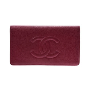 Chanel Long wallet Red Ladies caviar skin B rank CHANEL Used Ginzo